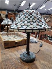 Sale 8777 - Lot 1055 - Pair of Leadlight Shade Table Lamps