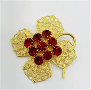 Sale 9031H - Lot 99 - Old Vintage Brooch c1900 Gold Plated with Red crystals, San Andres Made in Malaga, L 6.5cm -