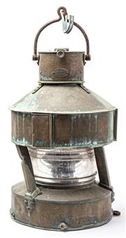 Sale 9083N - Lot 69 - A large copper ships lantern by Telford, Grier & Mackay, Glasgow.Height 62cm