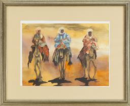 Sale 9099 - Lot 30 - Talba, Three Nomadic Figures Mounted on Camels, Watercolour, Signed and dated lower right 26 x 36cm