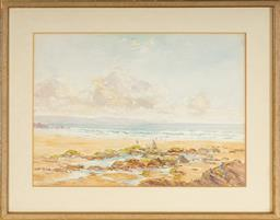 Sale 9099A - Lot 5088 - Hugh Casson (1910 - 1999) - Beach Scene, 1951 27.5 x 38.5 cm (frame: 51 x 40 x 1 cm)