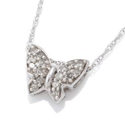 Sale 9124 - Lot 484 - A 10CT WHITE GOLD DIAMOND PENDANT NECKLACE; butterfly pendant set with 16 single cut diamonds totalling approx. 0.08ct, size 9 x 9mm...