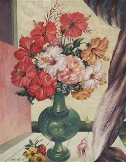 Sale 9161 - Lot 520 - ADRIAN FEINT (1894 - 1971) Hibiscus in Pewter, 1952 oil on Swedish board 36.5 x 29 cm (frame: 55 x 47 x 5 cm) signed and dated lower...