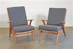 Sale 9171 - Lot 1028 - Pair of vintage teak armchairs with removable cushions (h:87 x w:66 x d:44cm)