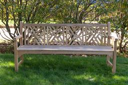 Sale 9248H - Lot 13 - A large Chinoiserie style teak bench Width 200cm