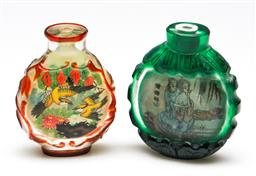 Sale 9253 - Lot 26 - A bird decorated Chinese glass snuff bottle together with an erotic scene example - missing stoppers (H:7cm)