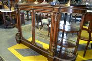 Sale 8093 - Lot 1807 - Victorian Burr Walnut and Inlaid Credenza with Mirrored Doors & Brass Decoration