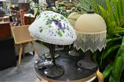 Sale 8147 - Lot 1087 - Pair of Beaded Shade Table Lamps & Pair of Art Glass Shade Table Lamps (4)