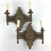 Sale 8545N - Lot 10 - Pair of Brass Wall Sconces (W: 34cm)