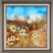 Sale 8895 - Lot 2009 - Janet Price - Gathering Daisiesoil on panel, 38.5 x 38cm (frame), signed