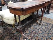 Sale 8917 - Lot 1032 - Victorian Inlaid & Burr Walnut Ladys Desk & Games Table, with shaped top (leather top mostly lost), hinged to reveal a green baize...