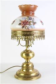 Sale 8935 - Lot 84 - Brass Table Lamp With Glass Shade (total height H52cm)