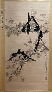 Sale 8951S - Lot 12 - Chinese Scroll depicting Magpies, Ink and Colour on Paper