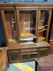 Sale 8993 - Lot 1072 - Late Victorian Oak Bookcase, the upper breakfront with three glass panel doors & mirrored alcove, above two centre drawers & carved...