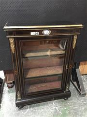 Sale 9068 - Lot 1073 - Victorian Ebonised Pier Cabinet, with brass mounts, Sevres style plaque & string inlay, having a glass panel door & velvet interior...