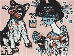 Sale 9157A - Lot 5023 - YOSI MESSIAH (1964 - ) Dog Love, 2020 mixed media on board (unframed) 75 x 100 cm signed lower left, dated and titled verso