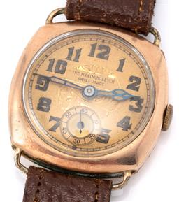 Sale 9140 - Lot 377 - A LADYS VINTAGE GOLD FILLED WRISTWATCH; cushion form case with round gilt dial signed The Maximus Lever Swiss Made, subsidiary seco...