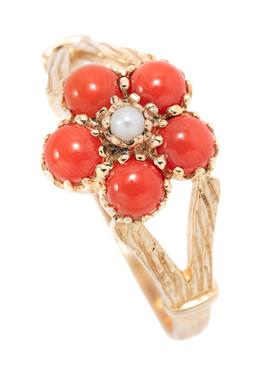 Sale 9186 - Lot 366 - A 9CT GOLD CORAL AND PEARL CLUSTER RING; floral cluster of 5 round cabochon corals to central seed pearl on split textured shoulders...