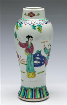 Sale 9164 - Lot 378 - Chinese Famille Rose Meiping Shaped Jar depicting maiden with children, cover with Fo dog finial,  marks to base, H:27cm