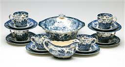 Sale 9192 - Lot 14 - A Set of Six Royal Worcester Palissy Avon Scene Trios Together With a Lidded Tureen and Gravy Boat