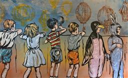 Sale 9214A - Lot 5003 - DAVID BROMLEY (1960 - ) The Dress Up Party (Over the Fence) acrylic on canvas 140 x 230 cm signed centre right