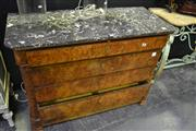 Sale 8031 - Lot 1012 - Louis Philippe Burr Walnut Commode of Five Drawers with Black Marble Top