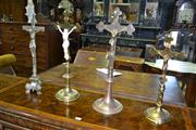 Sale 8093 - Lot 1808 - Set of Four Brass Crucifix