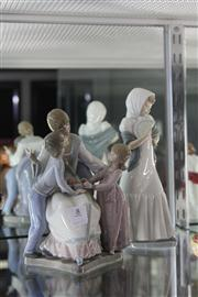 Sale 8195 - Lot 8 - Lladro Figural Group of a Mother with Children with a Nao Figure