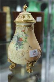 Sale 8296 - Lot 30 - Royal Worcester Blush Ivory Pot Pourri painted with Thistles