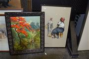 Sale 8410T - Lot 2039 - Framed Artworks (2) incl Flame Tree signed Rochma