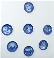 Sale 8515A - Lot 41 - A group of seven blue and white Bing & Grondahl wall plates in Christmas and other themes