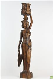 Sale 8560 - Lot 42 - Carved Timber Figure Of Balinese Woman (61Cm)
