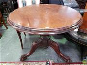 Sale 8580 - Lot 1077 - Timber Supper Table on Castors