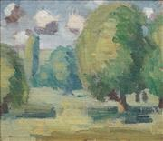 Sale 8692 - Lot 545 - Godfrey Miller (1893 - 1964) - Early Landscape 19.5 x 22.5cm