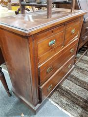 Sale 8740 - Lot 1323 - Timber Chest of Four Drawers with Brass Handles