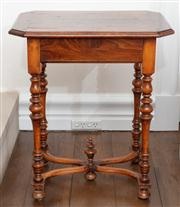 Sale 8838H - Lot 97 - An early C19th small oak side table with canted corners and acorn finial.  Height 69cm x Width 59cm x Depth 45cm