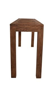 Sale 8957T - Lot 24 - Rustic elm timber bar table with unique parquetry detailed top. W240 x D60 x H105
