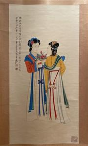 Sale 8951S - Lot 13 - Chinese Scroll of a Ladies with Flowers, Ink and Colour on Paper