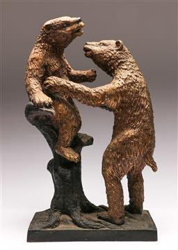 Sale 9138 - Lot 127 - Bronze Figure of Two Andean Bears Playing in a Tree (H:45cm)