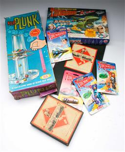 Sale 9148 - Lot 18 - Collection of vintage Thunderbirds toys and games inc Monopoly and KerPlunk