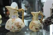 Sale 8296 - Lot 54 - Royal Worcester Blush Ivory Jug with a Smaller Example