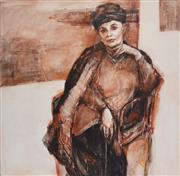 Sale 8381A - Lot 83 - Judith Johnson (XX - ) - When life becomes more real. (Portrait of Gwenda Hall), 2003 150 x 150cm