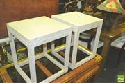 Sale 8371 - Lot 1049 - Pair of Square Line Side Tables