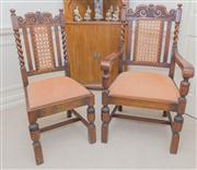Sale 8402H - Lot 41 - A set of eight Jacobean style dining chairs, with caned and carved backs, barley twist supports (includes two carvers).