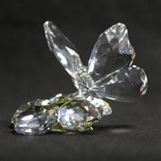 Sale 8412B - Lot 9 - Swarovski Crystal Butterfly on Flower with Box - Height 6.4cm