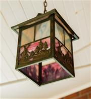 Sale 8418A - Lot 1 - A vintage stained glass porch lantern with Dutch windmill scene in pressed metal, H 28cm approx