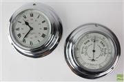 Sale 8529 - Lot 36 - Chrome 8 Day Clock And Barometer