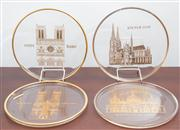 Sale 8774A - Lot 170 - Four boxed glass and gilt Orrefors annual commemorative plates including Notre Dame, San Marco, Kolner Dom and Westminster Abbey