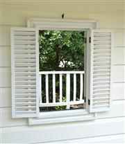 Sale 8858H - Lot 1 - Window Style Mirror with Functional Shutters, H 66 x W 45 x D 3 cm -