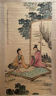 Sale 8951S - Lot 14 - Chinese Scroll of Ladies in the Garden, Ink and Colour on Paper